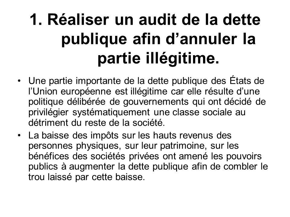 1. Réaliser un audit de la dette publique afin dannuler la partie illégitime. Une partie importante de la dette publique des États de lUnion européenn