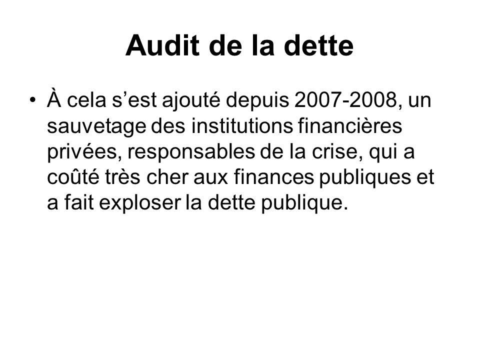Audit de la dette À cela sest ajouté depuis 2007-2008, un sauvetage des institutions financières privées, responsables de la crise, qui a coûté très c