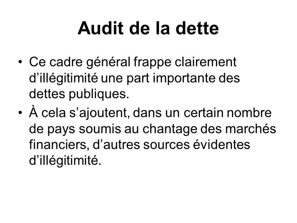Audit de la dette Ce cadre général frappe clairement dillégitimité une part importante des dettes publiques. À cela sajoutent, dans un certain nombre