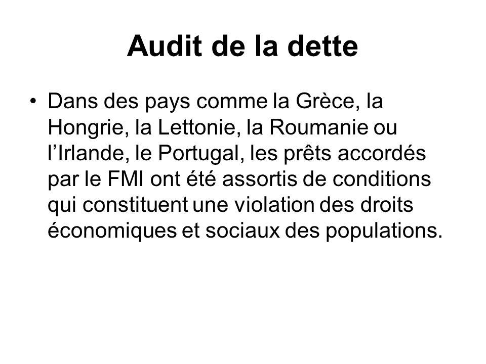 Audit de la dette Dans des pays comme la Grèce, la Hongrie, la Lettonie, la Roumanie ou lIrlande, le Portugal, les prêts accordés par le FMI ont été a