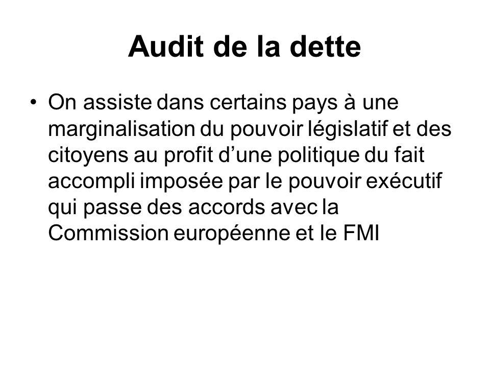 Audit de la dette On assiste dans certains pays à une marginalisation du pouvoir législatif et des citoyens au profit dune politique du fait accompli
