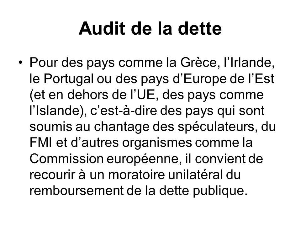 Audit de la dette Pour des pays comme la Grèce, lIrlande, le Portugal ou des pays dEurope de lEst (et en dehors de lUE, des pays comme lIslande), cest