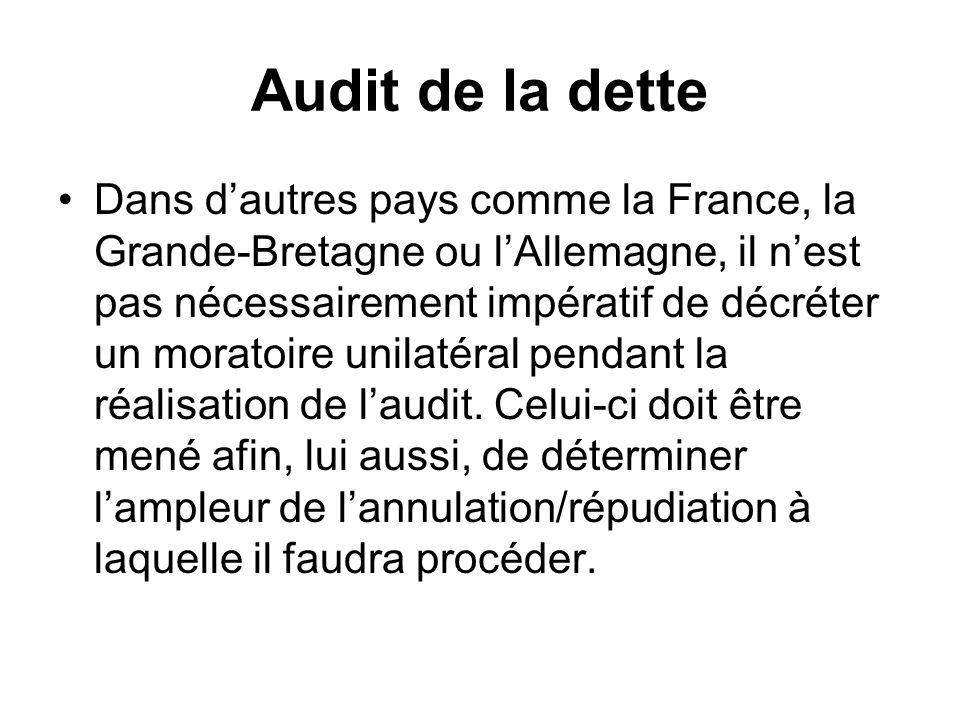 Audit de la dette Dans dautres pays comme la France, la Grande-Bretagne ou lAllemagne, il nest pas nécessairement impératif de décréter un moratoire u