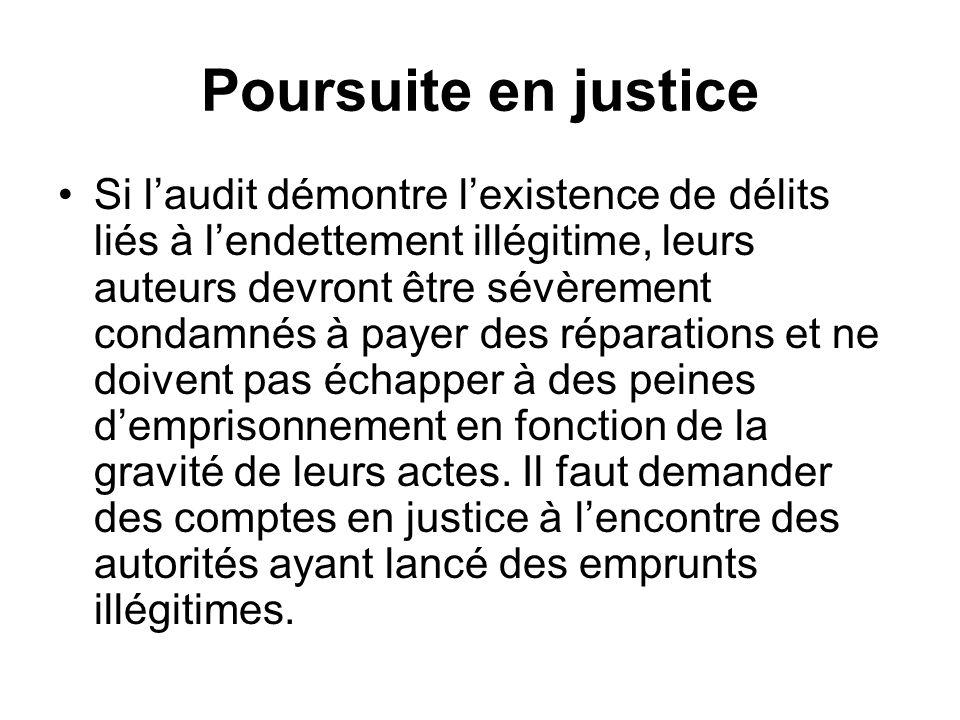 Poursuite en justice Si laudit démontre lexistence de délits liés à lendettement illégitime, leurs auteurs devront être sévèrement condamnés à payer d