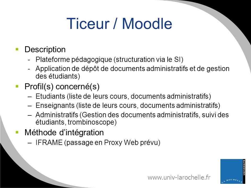 www.univ-larochelle.fr Ticeur / Moodle Description -Plateforme pédagogique (structuration via le SI) -Application de dépôt de documents administratifs