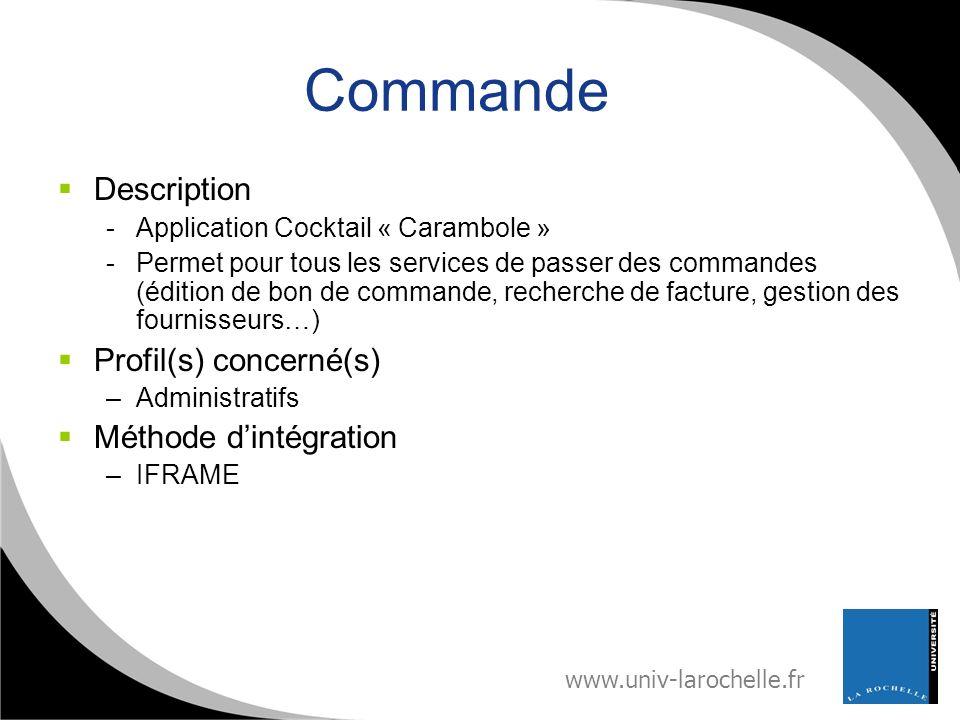 www.univ-larochelle.fr Commande Description -Application Cocktail « Carambole » -Permet pour tous les services de passer des commandes (édition de bon