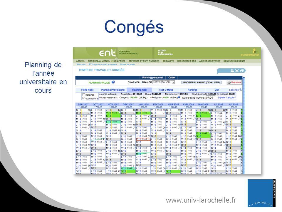 www.univ-larochelle.fr Congés Planning de lannée universitaire en cours