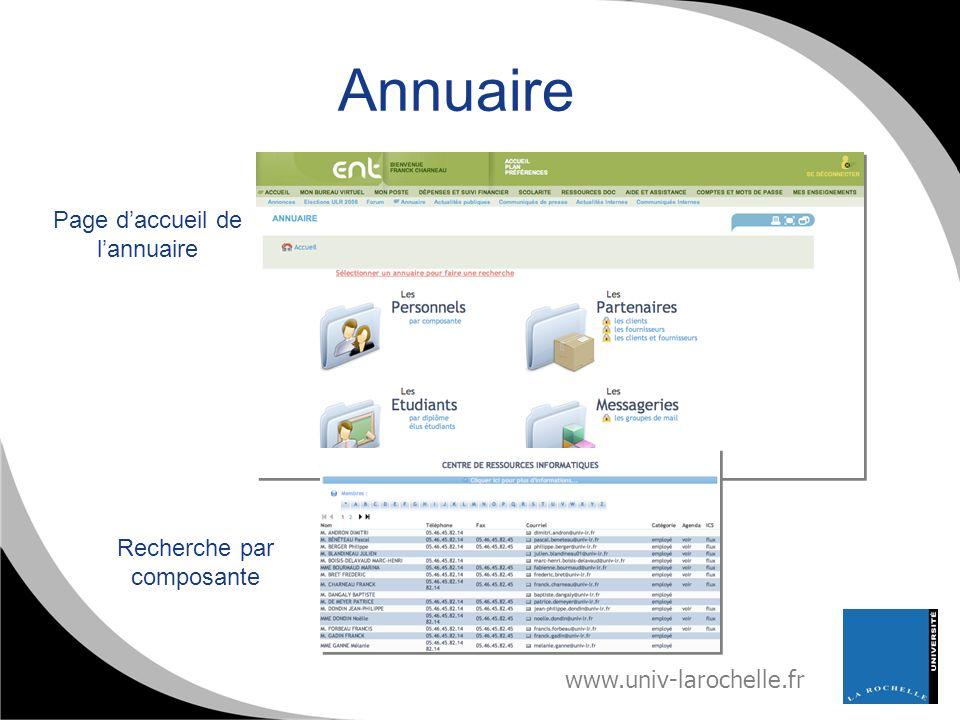www.univ-larochelle.fr Annuaire Page daccueil de lannuaire Recherche par composante
