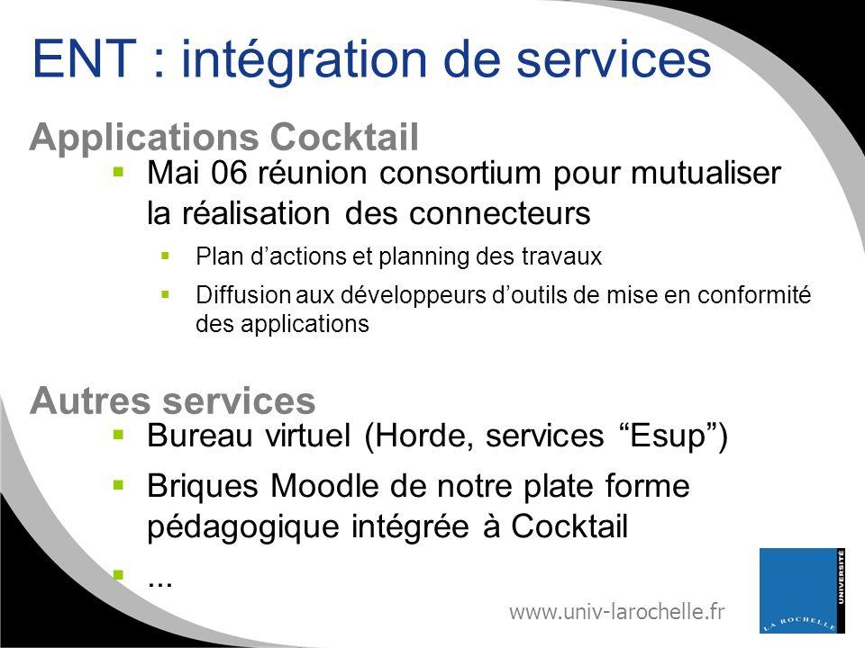 www.univ-larochelle.fr ENT : intégration de services Mai 06 réunion consortium pour mutualiser la réalisation des connecteurs Plan dactions et plannin