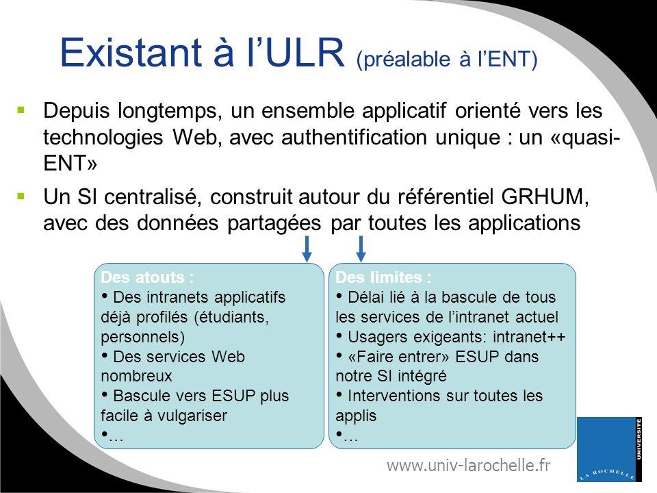 www.univ-larochelle.fr Existant à lULR (préalable à lENT) Depuis longtemps, un ensemble applicatif orienté vers les technologies Web, avec authentific
