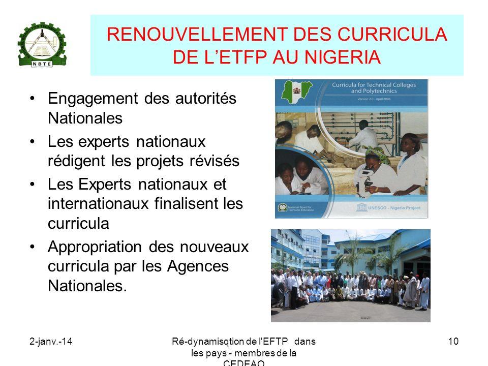 2-janv.-14Ré-dynamisqtion de l'EFTP dans les pays - membres de la CEDEAO 10 RENOUVELLEMENT DES CURRICULA DE LETFP AU NIGERIA Engagement des autorités