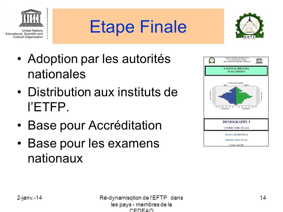 2-janv.-14Ré-dynamisqtion de l'EFTP dans les pays - membres de la CEDEAO 14 Etape Finale Adoption par les autorités nationales Distribution aux instit