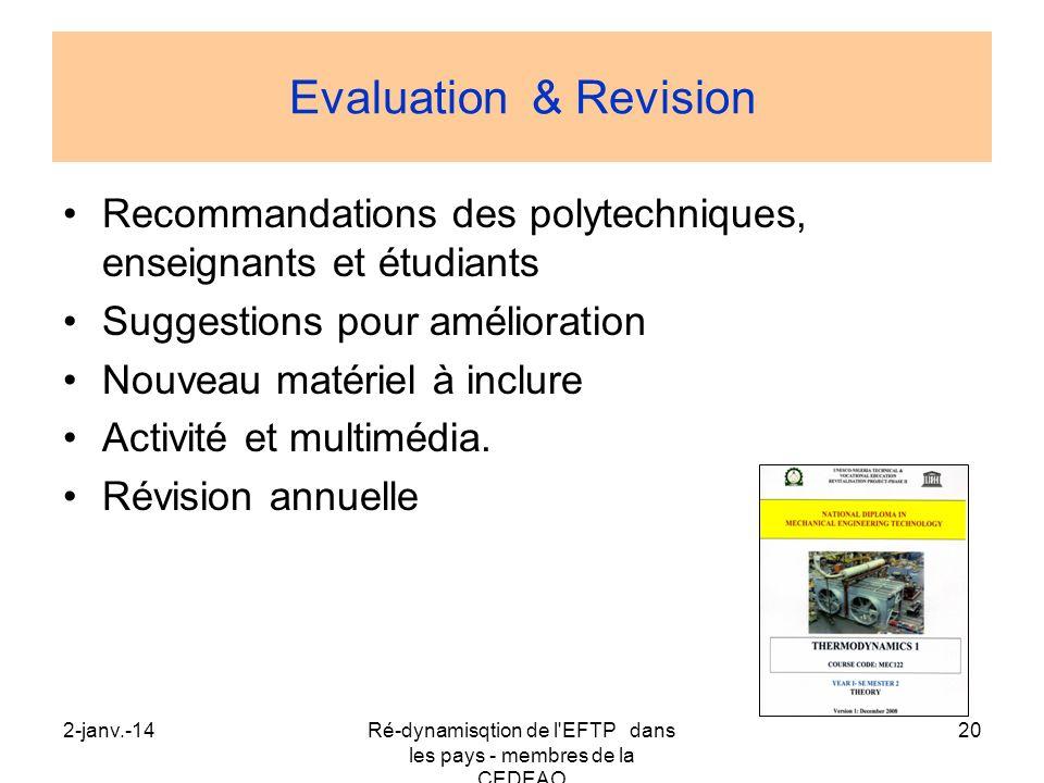 2-janv.-14Ré-dynamisqtion de l'EFTP dans les pays - membres de la CEDEAO 20 Evaluation & Revision Recommandations des polytechniques, enseignants et é