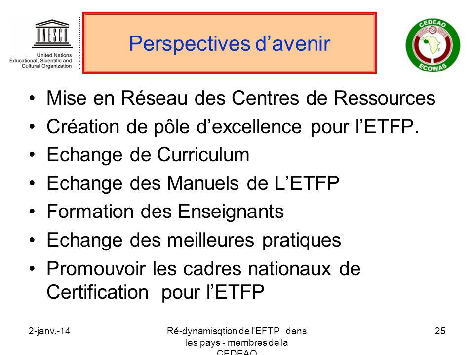 2-janv.-14Ré-dynamisqtion de l'EFTP dans les pays - membres de la CEDEAO 25 Perspectives davenir Mise en Réseau des Centres de Ressources Création de