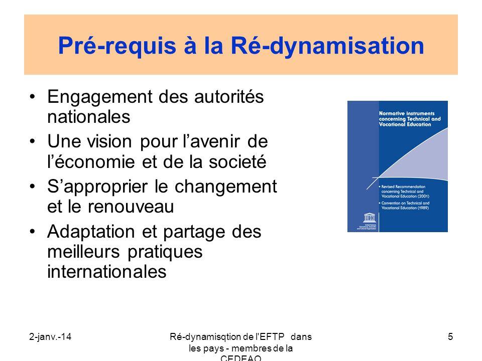 2-janv.-14Ré-dynamisqtion de l'EFTP dans les pays - membres de la CEDEAO 5 Pré-requis à la Ré-dynamisation Engagement des autorités nationales Une vis