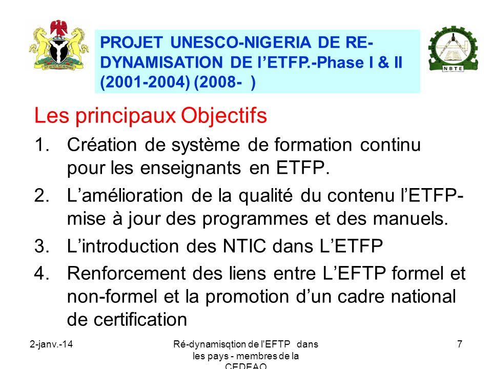 2-janv.-14Ré-dynamisqtion de l'EFTP dans les pays - membres de la CEDEAO 7 Les principaux Objectifs 1.Création de système de formation continu pour le