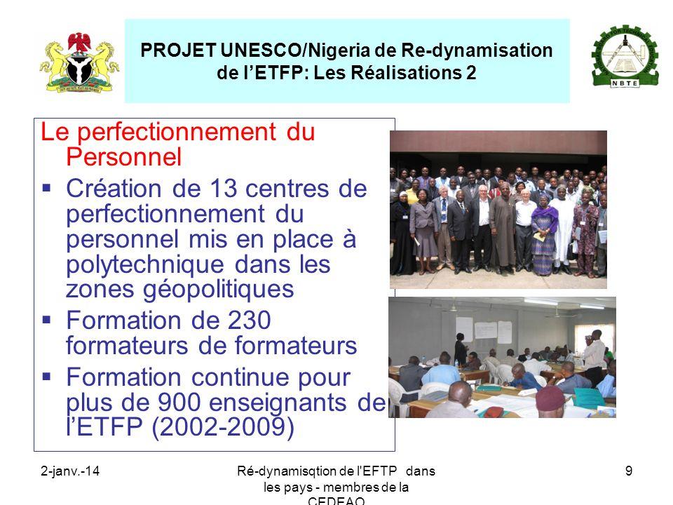 2-janv.-14Ré-dynamisqtion de l'EFTP dans les pays - membres de la CEDEAO 9 Le perfectionnement du Personnel Création de 13 centres de perfectionnement