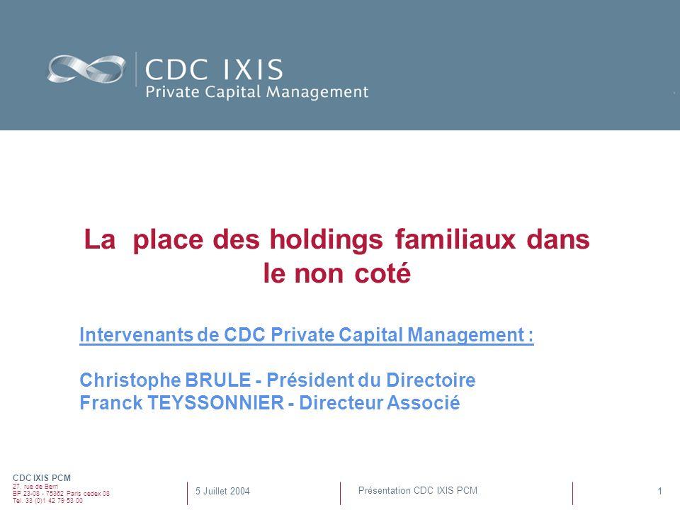 CDC IXIS PCM 27, rue de Berri BP 23-08 - 75362 Paris cedex 08 Tel. 33 (0)1 42 79 53 00 1 Présentation CDC IXIS PCM 5 Juillet 2004 La place des holding