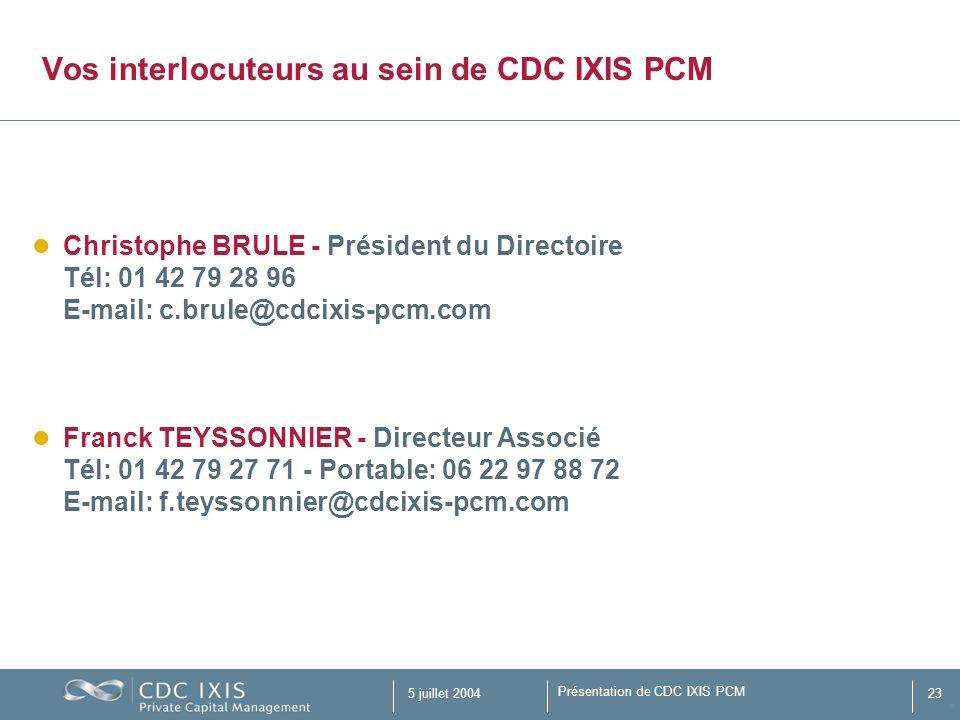 Présentation de CDC IXIS PCM 5 juillet 200423 Vos interlocuteurs au sein de CDC IXIS PCM Christophe BRULE - Président du Directoire Tél: 01 42 79 28 9