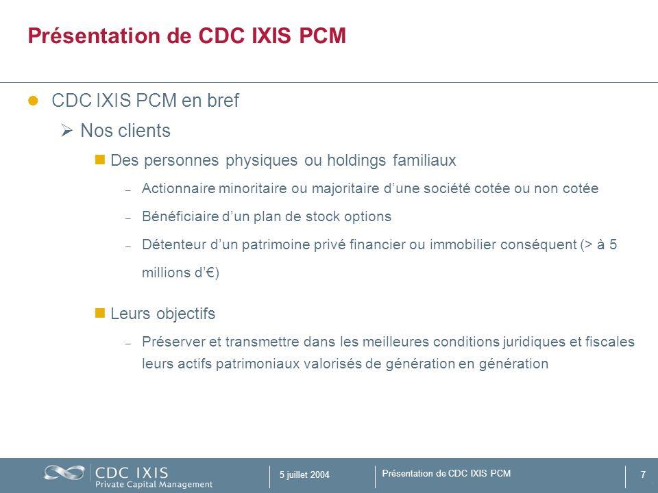 Présentation de CDC IXIS PCM 5 juillet 200418 Chef dentreprise dont les actifs sont détenus majoritairement dans des supports de capitalisation Ce sont des entrepreneurs qui ne souhaitent plus être actifs dans le non-côté par des participations détenues en direct.