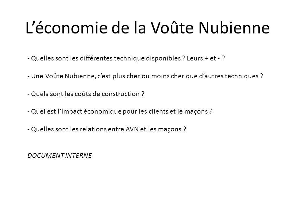 Léconomie de la Voûte Nubienne - Quelles sont les différentes technique disponibles ? Leurs + et - ? - Une Voûte Nubienne, cest plus cher ou moins che