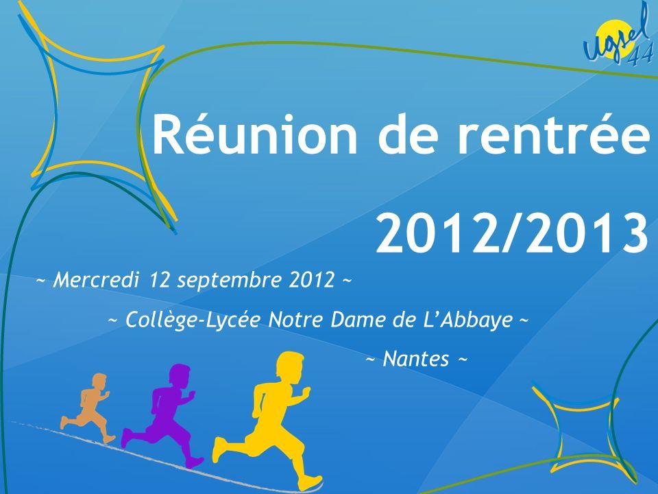 Réunion de rentrée UGSEL 44 -12 sept.2012 Accueil par le chef détablissement Jean-Philippe Thoiry