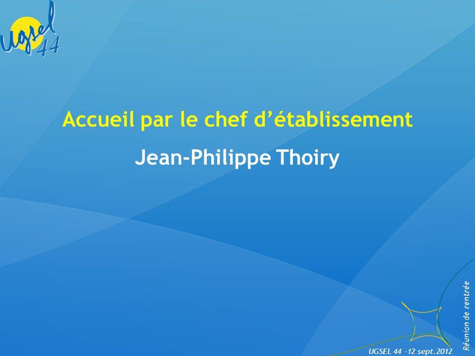 Intervention du nouveau directeur diocésain Hervé Bonamy Réunion de rentrée UGSEL 44 -12 sept.2012