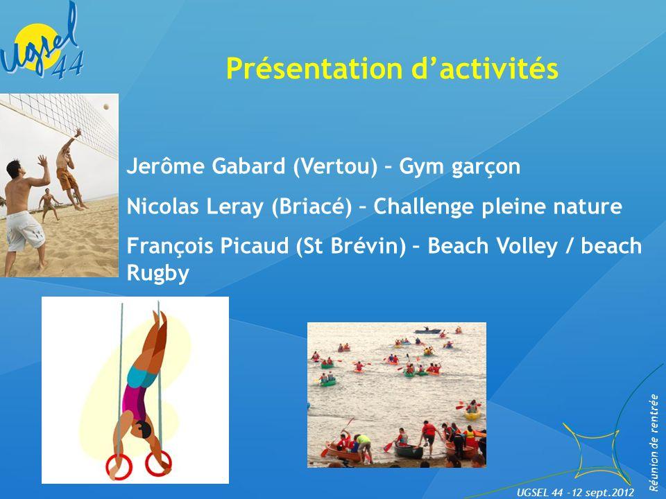 Nouveau site UGSEL 44 et News. Jean-Noël Mellerin Réunion de rentrée UGSEL 44 -12 sept.2012