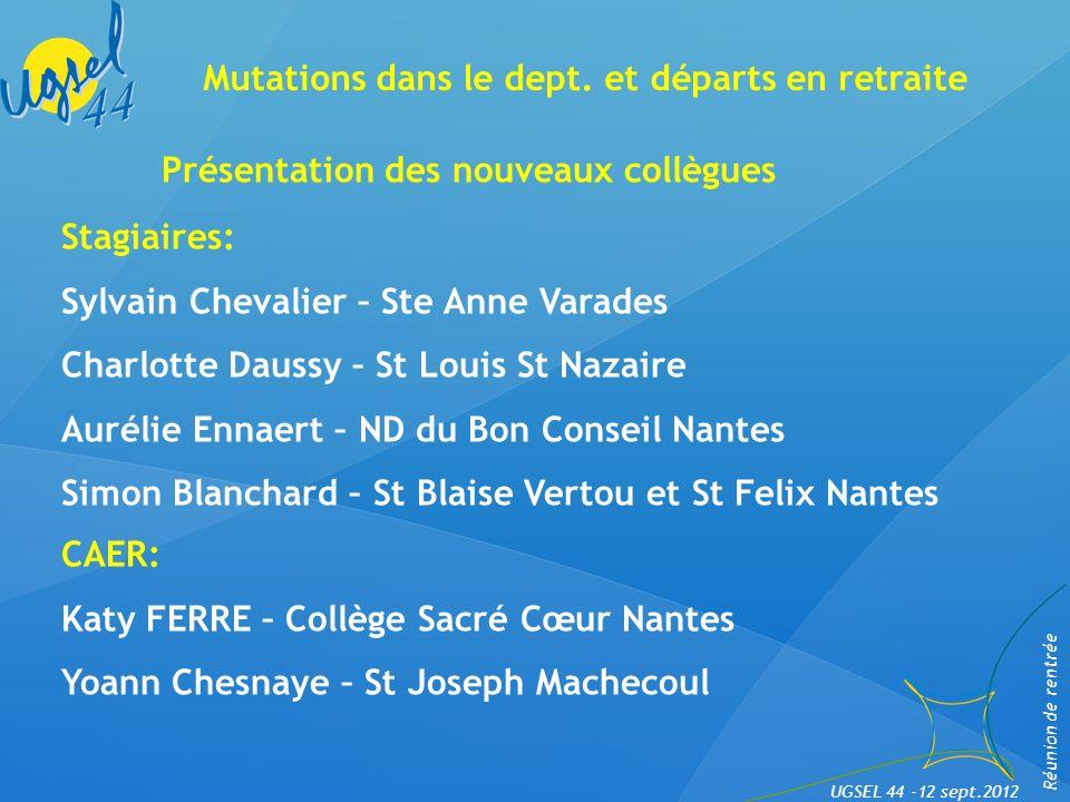 Distribution du livret dept. Réunion de rentrée UGSEL 44 -12 sept.2012