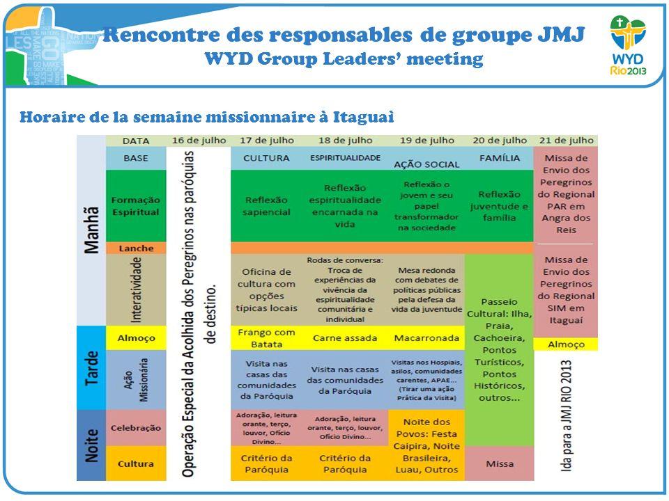 Rencontre des responsables de groupe JMJ WYD Group Leaders meeting Horaire de la semaine missionnaire à Itaguaì
