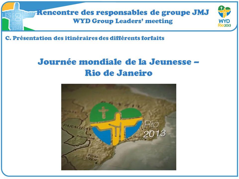Rencontre des responsables de groupe JMJ WYD Group Leaders meeting C. Présentation des itinéraires des différents forfaits Journée mondiale de la Jeun