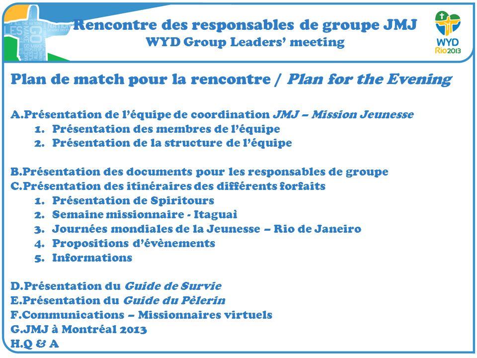 Rencontre des responsables de groupe JMJ WYD Group Leaders meeting Plan de match pour la rencontre / Plan for the Evening A.Présentation de léquipe de