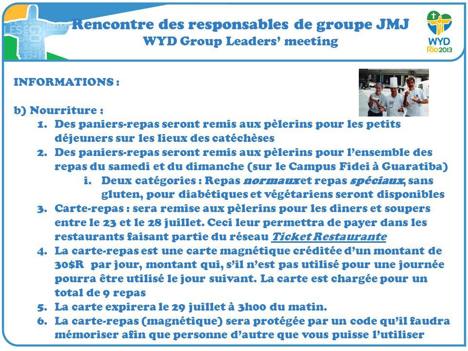 Rencontre des responsables de groupe JMJ WYD Group Leaders meeting INFORMATIONS : b) Nourriture : 1.Des paniers-repas seront remis aux pèlerins pour l