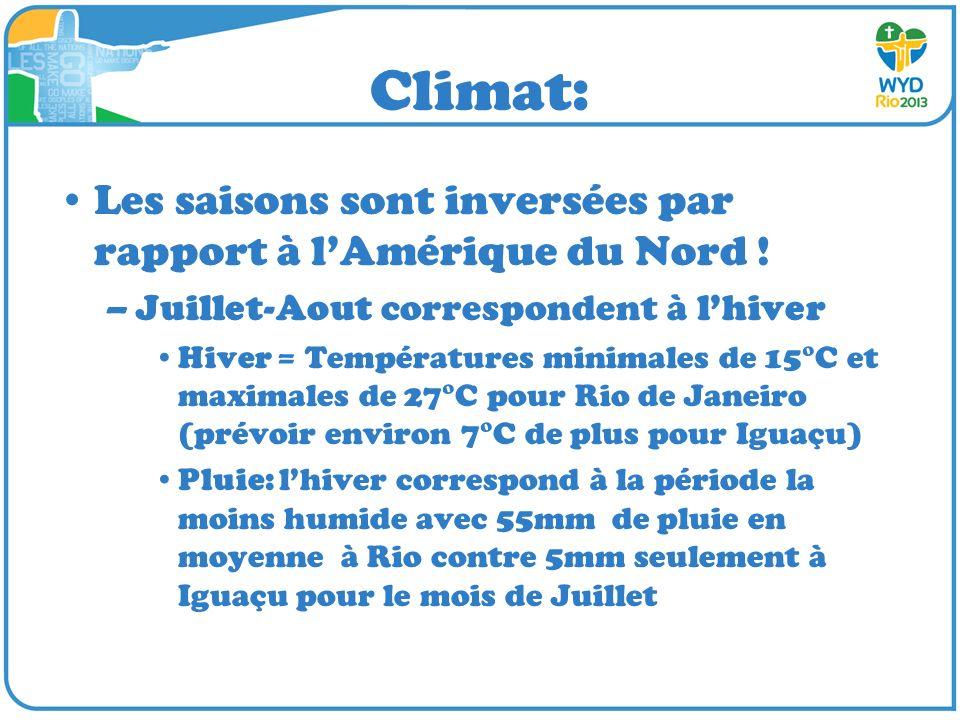 Climat: Les saisons sont inversées par rapport à lAmérique du Nord ! –Juillet-Aout correspondent à lhiver Hiver = Températures minimales de 15°C et ma