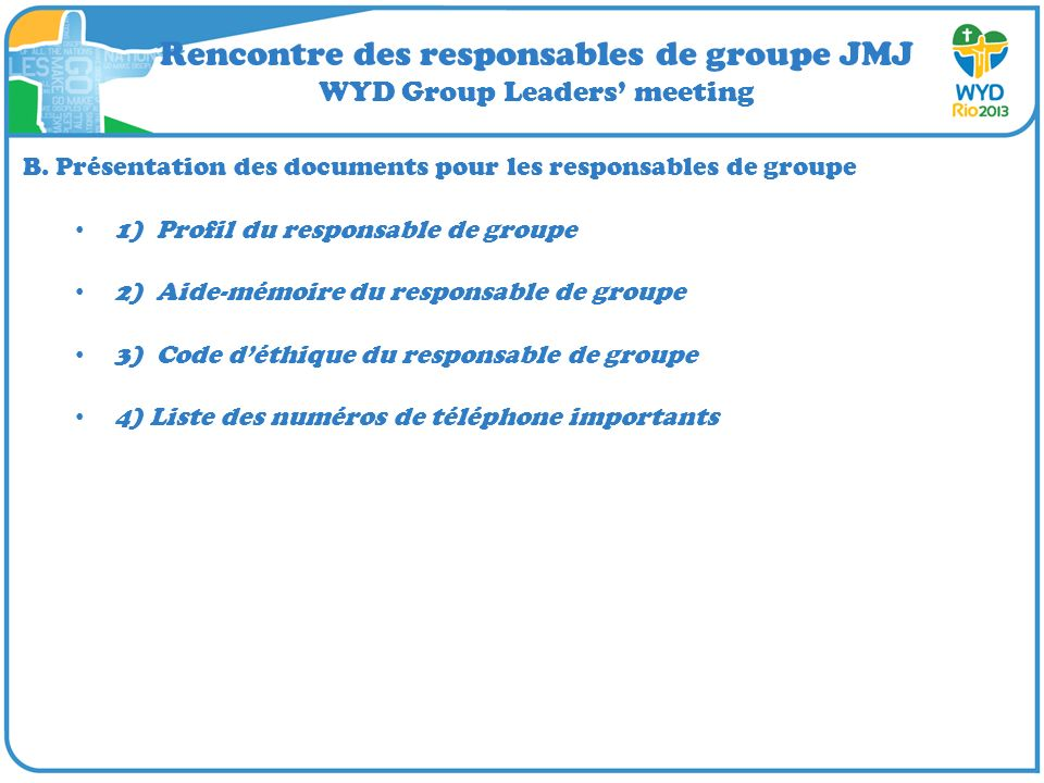 Rencontre des responsables de groupe JMJ WYD Group Leaders meeting C.
