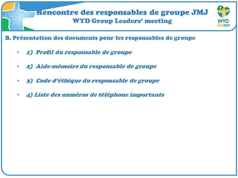 Rencontre des responsables de groupe JMJ WYD Group Leaders meeting B. Présentation des documents pour les responsables de groupe 1) Profil du responsa