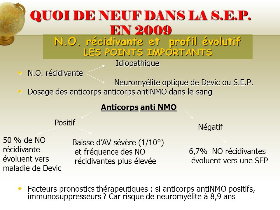 QUOI DE NEUF DANS LA S.E.P. EN 2009 Idiopathique Idiopathique N.O. récidivante N.O. récidivante Neuromyélite optique de Devic ou S.E.P. Neuromyélite o