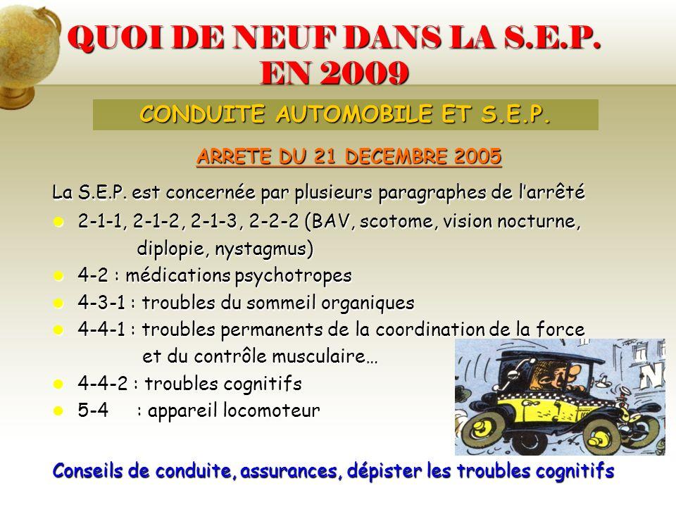 QUOI DE NEUF DANS LA S.E.P. EN 2009 ARRETE DU 21 DECEMBRE 2005 La S.E.P. est concernée par plusieurs paragraphes de larrêté 2-1-1, 2-1-2, 2-1-3, 2-2-2