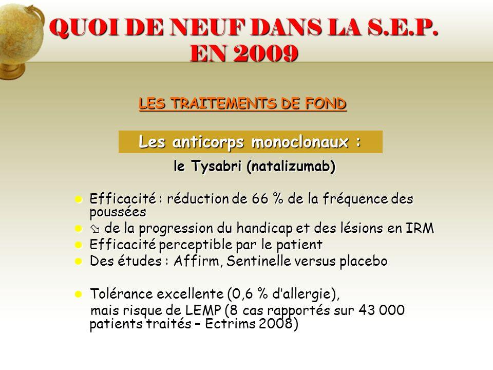 LES TRAITEMENTS DE FOND le Tysabri (natalizumab) Efficacité : réduction de 66 % de la fréquence des poussées Efficacité : réduction de 66 % de la fréq