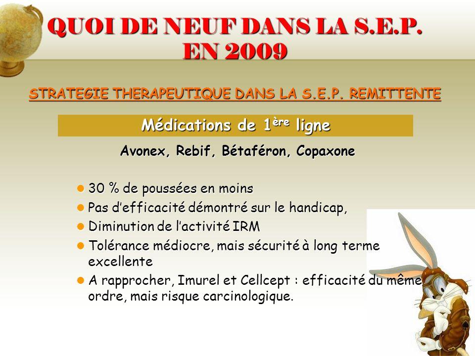 QUOI DE NEUF DANS LA S.E.P. EN 2009 STRATEGIE THERAPEUTIQUE DANS LA S.E.P. REMITTENTE Avonex, Rebif, Bétaféron, Copaxone 30 % de poussées en moins 30