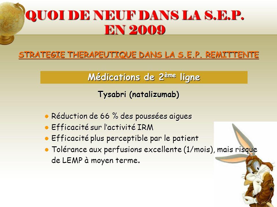 QUOI DE NEUF DANS LA S.E.P. EN 2009 STRATEGIE THERAPEUTIQUE DANS LA S.E.P. REMITTENTE Tysabri (natalizumab) Réduction de 66 % des poussées aigues Rédu