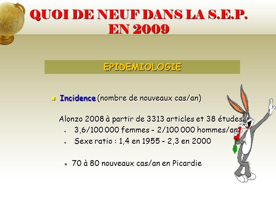 QUOI DE NEUF DANS LA S.E.P. EN 2009 Incidence (nombre de nouveaux cas/an) Incidence (nombre de nouveaux cas/an) Alonzo 2008 à partir de 3313 articles