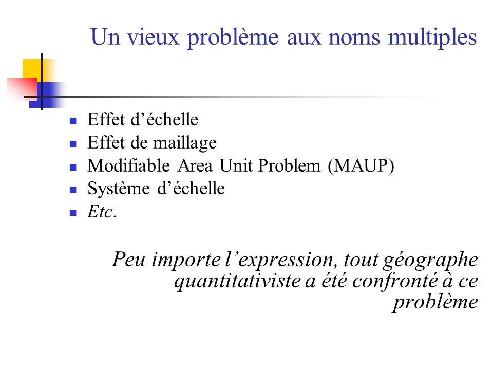Un vieux problème aux noms multiples Effet déchelle Effet de maillage Modifiable Area Unit Problem (MAUP) Système déchelle Etc. Peu importe lexpressio