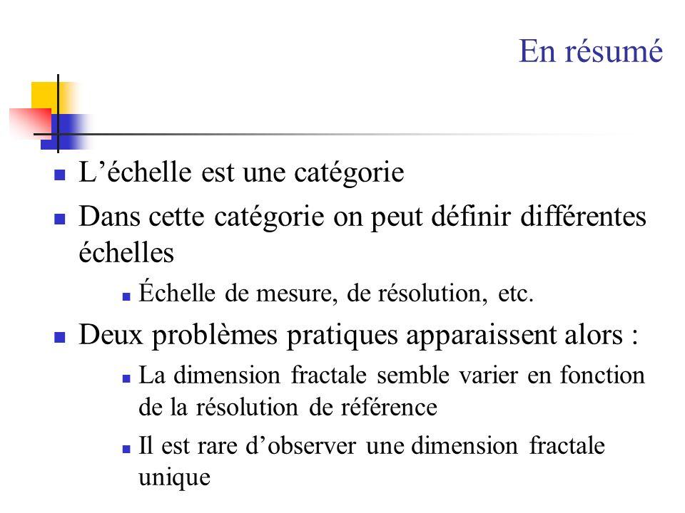 En résumé Léchelle est une catégorie Dans cette catégorie on peut définir différentes échelles Échelle de mesure, de résolution, etc. Deux problèmes p