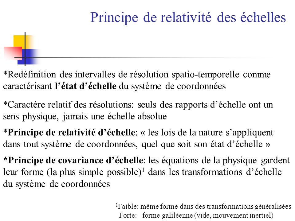 *Redéfinition des intervalles de résolution spatio-temporelle comme caractérisant létat déchelle du système de coordonnées *Caractère relatif des réso