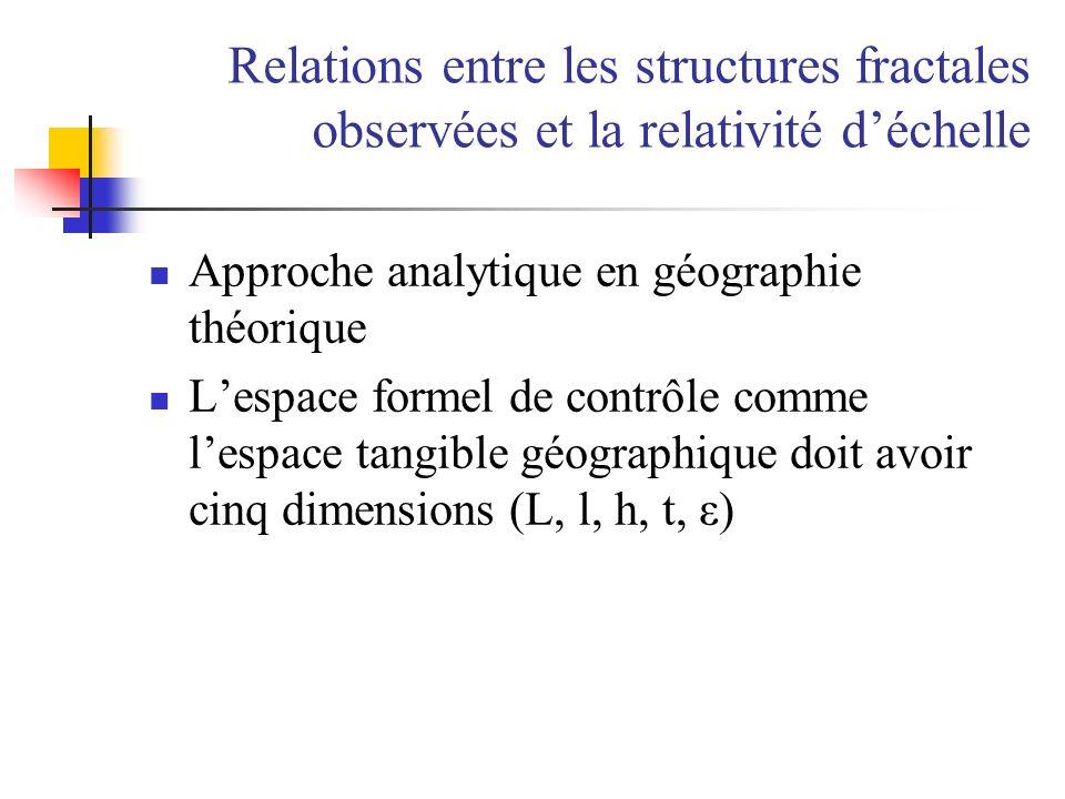 Relations entre les structures fractales observées et la relativité déchelle Approche analytique en géographie théorique Lespace formel de contrôle co