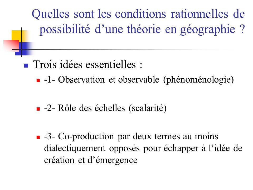 Quelles sont les conditions rationnelles de possibilité dune théorie en géographie ? Trois idées essentielles : -1- Observation et observable (phénomé