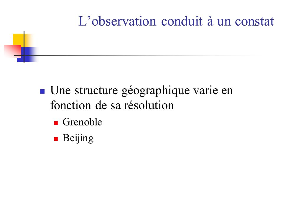 Lobservation conduit à un constat Une structure géographique varie en fonction de sa résolution Grenoble Beijing