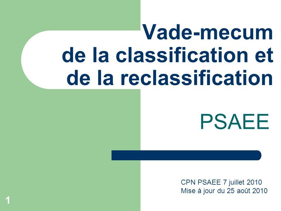 1 Vade-mecum de la classification et de la reclassification PSAEE CPN PSAEE 7 juillet 2010 Mise à jour du 25 août 2010
