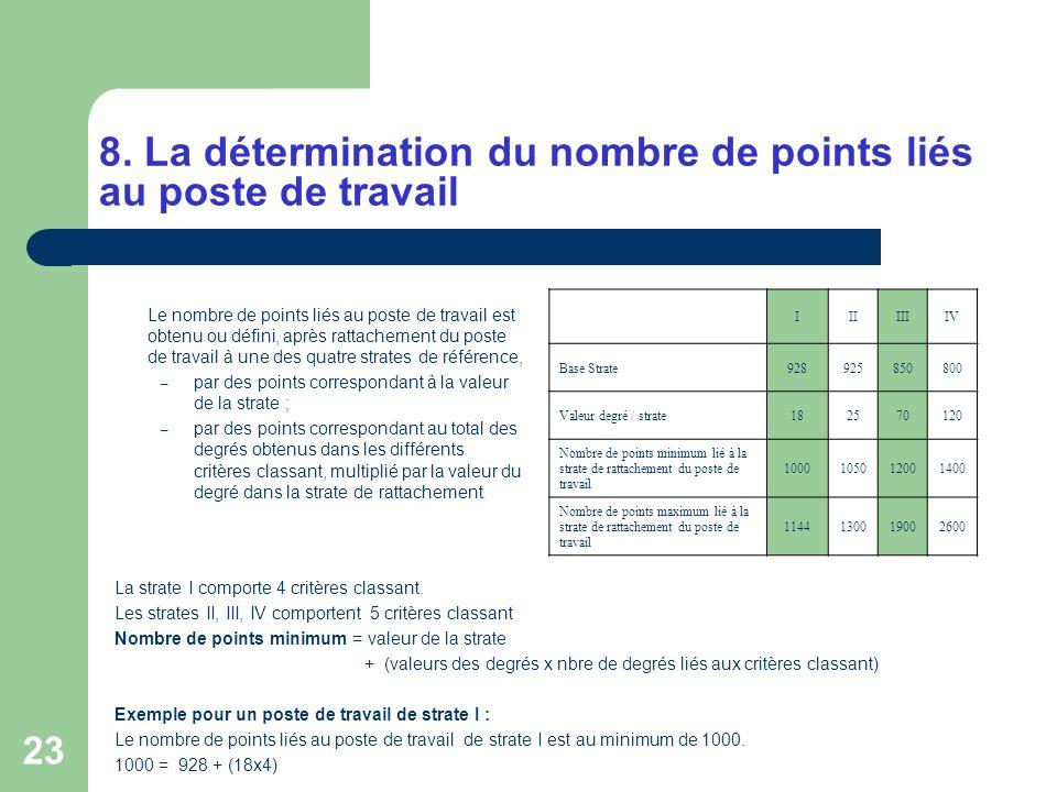 23 8. La détermination du nombre de points liés au poste de travail Le nombre de points liés au poste de travail est obtenu ou défini, après rattachem